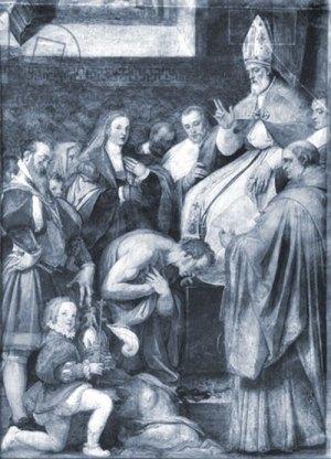 Le pape Grégoire VII donnant l'absolution à l'Empereur Henri IV