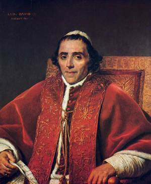 Portrait du pape Pie VII peint par Jacques Louis David