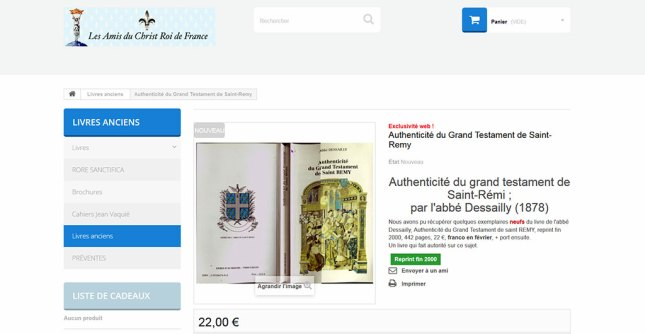 La Boutique Officielle des Amis du Christ Roy de France