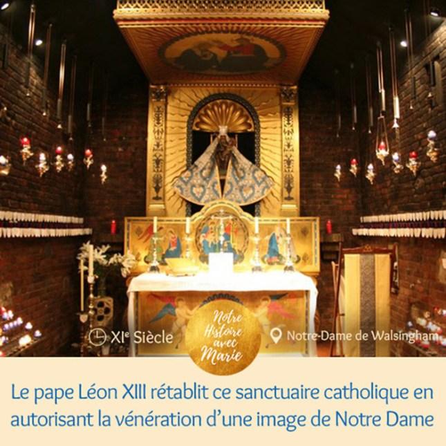 Le pape Léon XIII rétablit le santuaire caholique