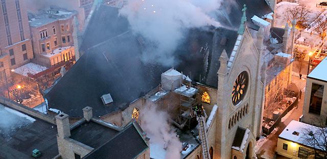 La cathédrale Holy Name aux prises du feu deux fois ces dernières années...