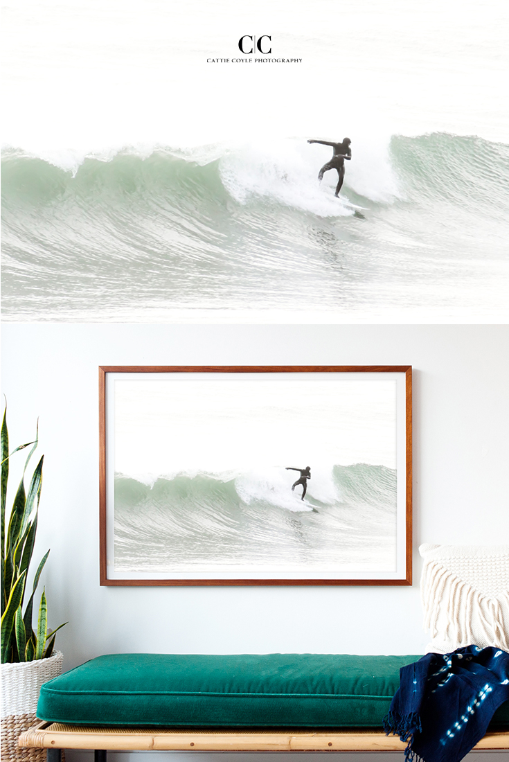 Surfing photography by Cattie Coyle. Now available as large wall art, framed or unframed. To see more and buy prints, visit www.cattiecoylephotography.com. #surfing #coastaldecor #largeart #framedart #cattiecoylephotography