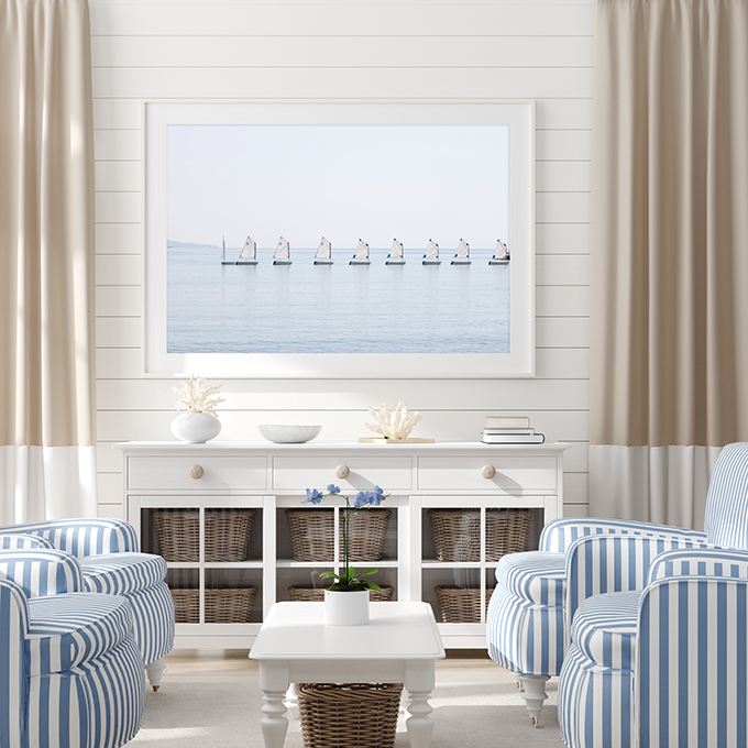 The Little Sailboats No 3 - Coastal wall decor in beach house living room by Cattie Coyle Photography