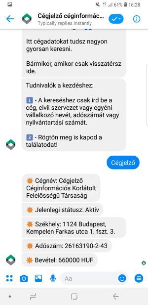 Chatbotize.me Chatbot fejlesztés - Cégjelző Céginformációs Rendszer - Facebook Messenger Chatbot