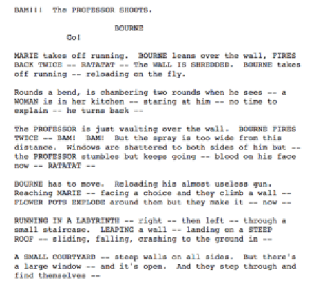 action script writing bourne