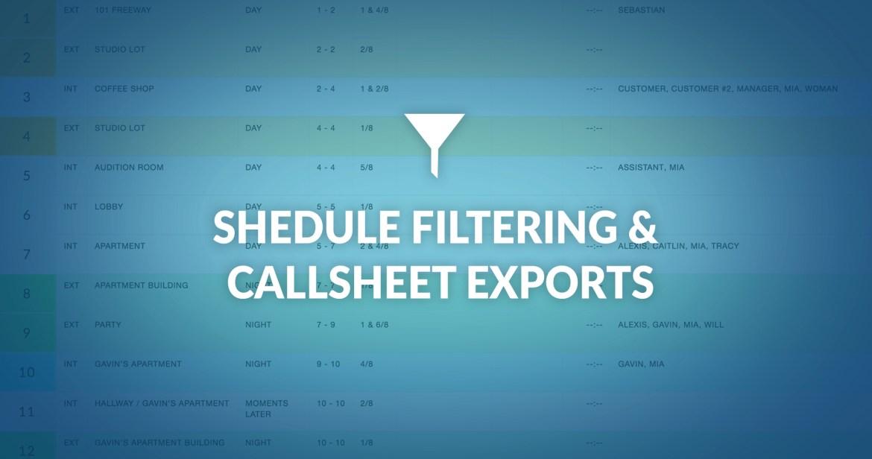 celtx schedule filtering