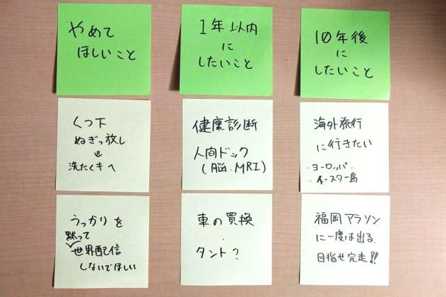 付箋紙の並び替え例