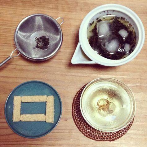 ◯◯◯◯□ #お茶の時間 #水出し #焙烙 #炒り #ほうじ茶 #しょうが #おこし (Instagram)