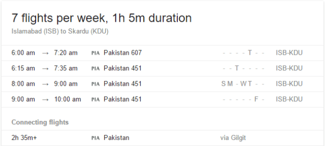 Flight Schedule from ISLAMABAD to SKARDU
