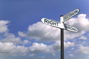 Decisions sign in the sky