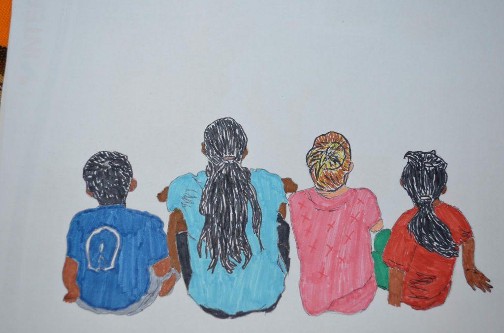 Dessin de la famille franco-équatorienne expatriée en équateur