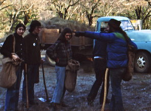 Isaac Bonewits (2nd from left) at the Greenfield Ranch tree planting, Jan. 1978