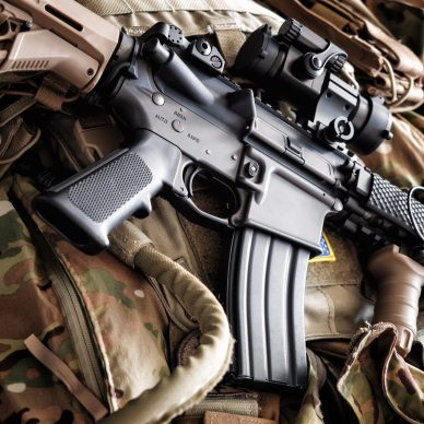 M4A1 (AR-15) tactical carbine on the bulletproof vest