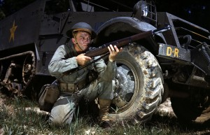 American WWII soldier with an M1 Garand rifle