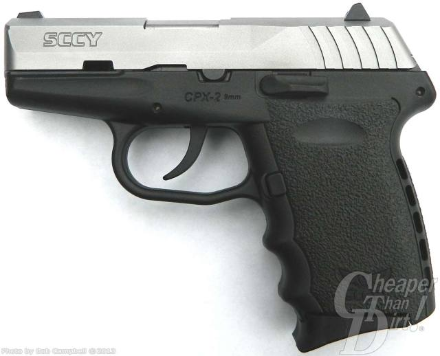 A black SCCY CPX 2 with a silver slide