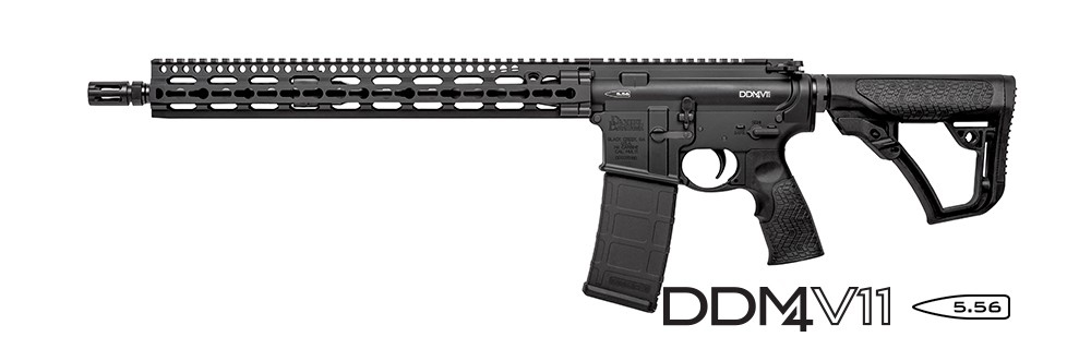 Picture shows an AR-15 made by Daniel Defense with KeyMod rail system.