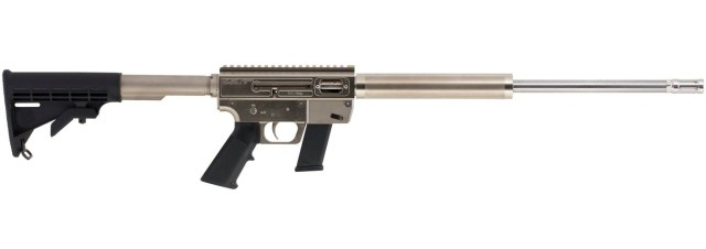 Picture shows an AR-15 style rifle with shiny silver finished barrel and black matte receiver.