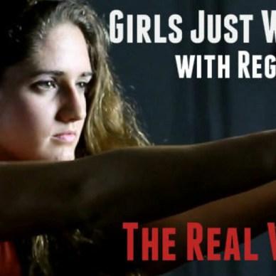 GirlsJustWannaHaveGuns.com banner featuring founder Regis Giles