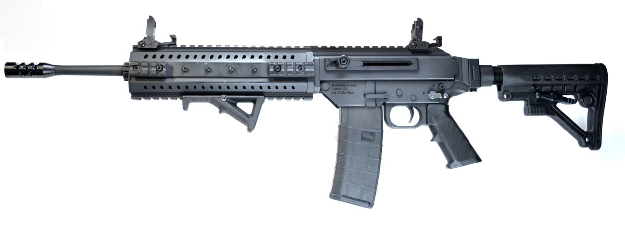 Picture shows a black modern sporting rifle.