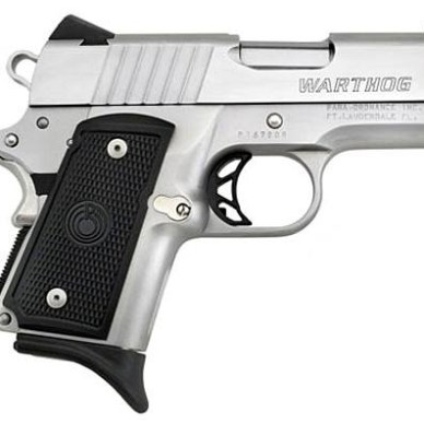 Para-Ordnance PXT Hawg Semi-Automatic Handgun with black grip and silver barrel, pointed to the right on a white background