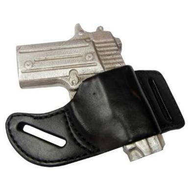 Picture shows a black leather pancake style gun holster.