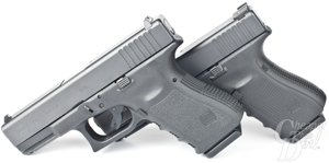 Picture shows the Glock 19 Gen 3 and Gen 4 side by side.