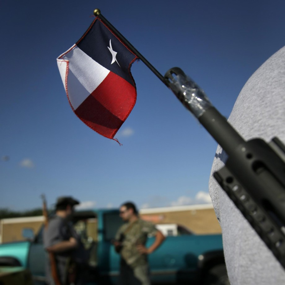 Open carry advocates with a Texas flag attached to the barrel of an AR-15 rifle