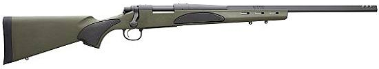 Dark silver Remington 700, barrel pointed to the right, on a white background
