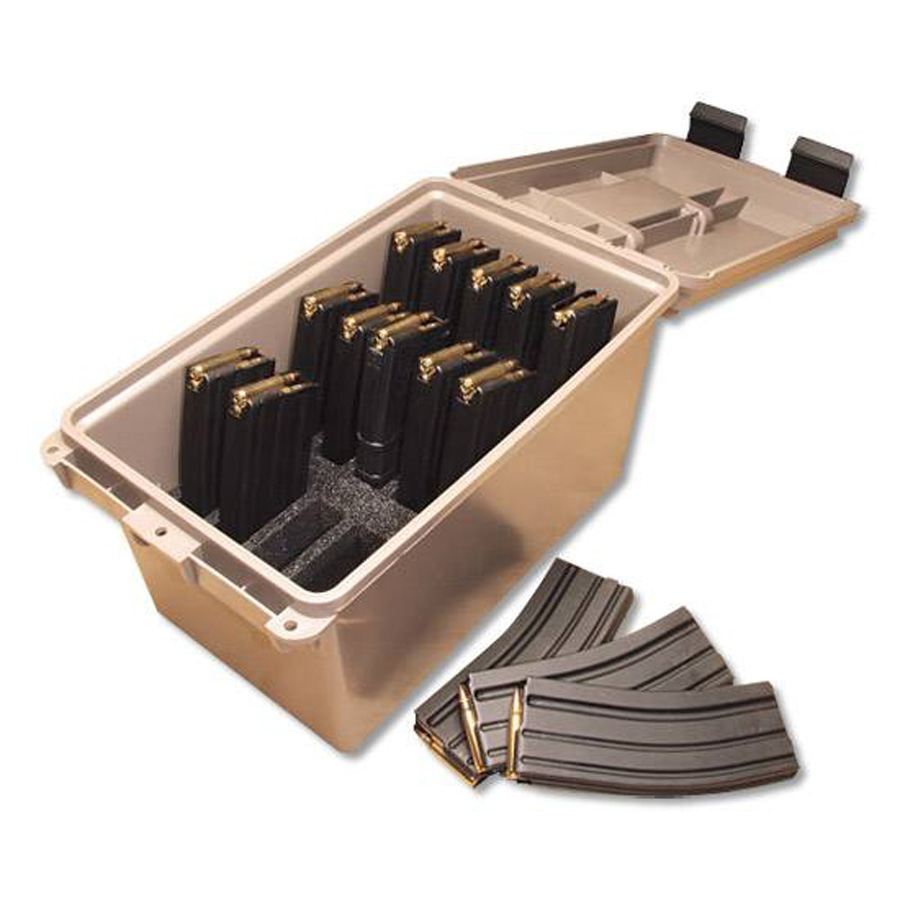 Image shows a desert tan plastic box that holds AR-15 magazines
