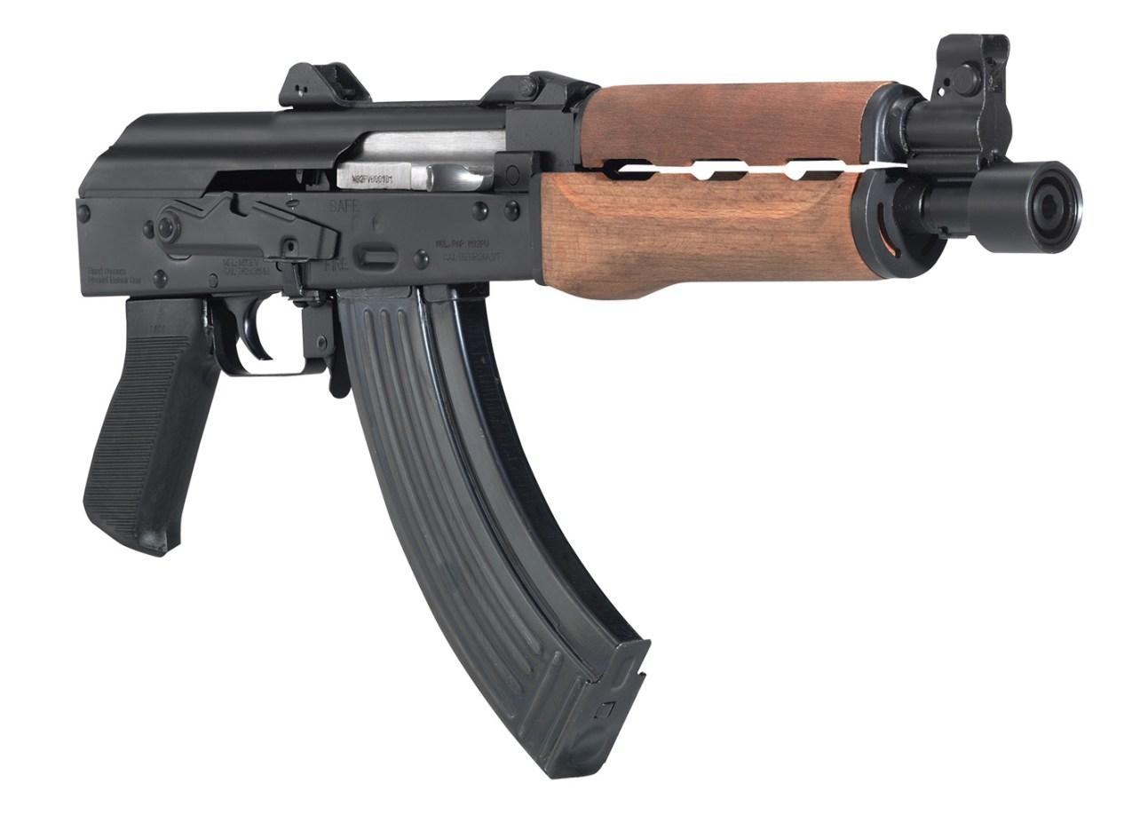 Serbian Zastava M92 PAP semiautomatic pistol with black metal receiver and wood handguard