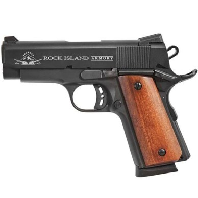 Picture shows a black compact 1911 handgun with wood grips.