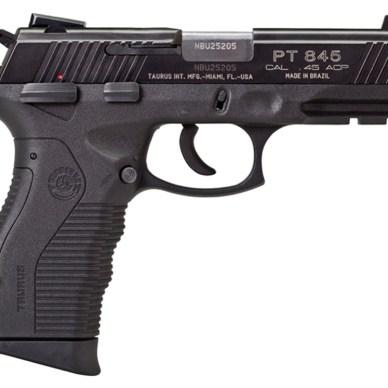 Black polymer framed .45 ACP handgun from Taurus