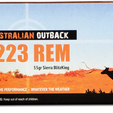 Picture shows a box of .223 Remington ammunition made by Australian Outback.