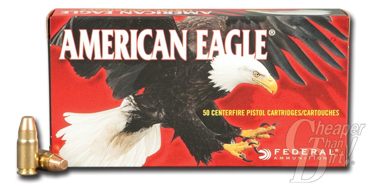 Picture shows a red box of American Eagle .357 SIG ammunition.