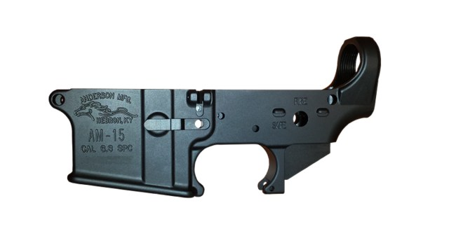 Black AR-15 lower receiver built by Anderson Manufacturing