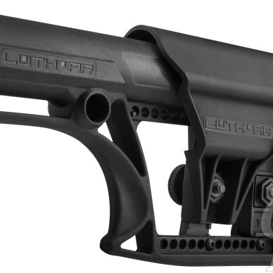 Picture shows the Luth-AR MBA fixed AR-15 stock with adjustable length of pull.