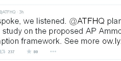 ATF Tweet saying they will not make a final decision on the ammo ban at this time
