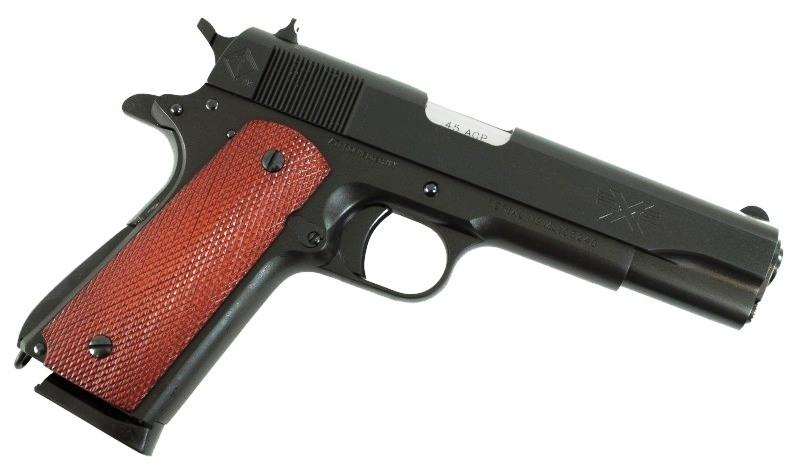 Five-inch Barrel ATI Pistol with brown grip, pointed downward and to the right on a black background.