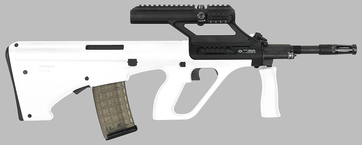 White Steyr AUG rifle