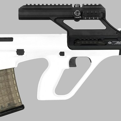 White Steyr AUG rifle