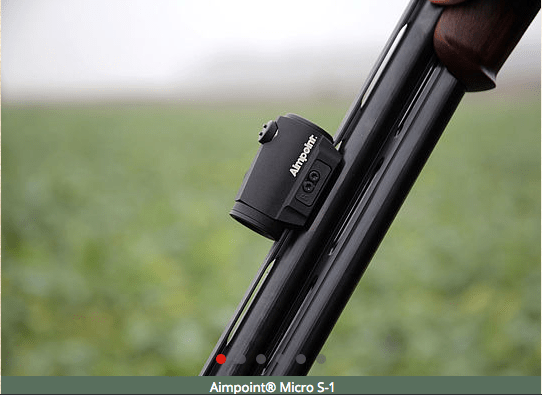 Aimpoint Micro S1 mounted to a shotgun barrel