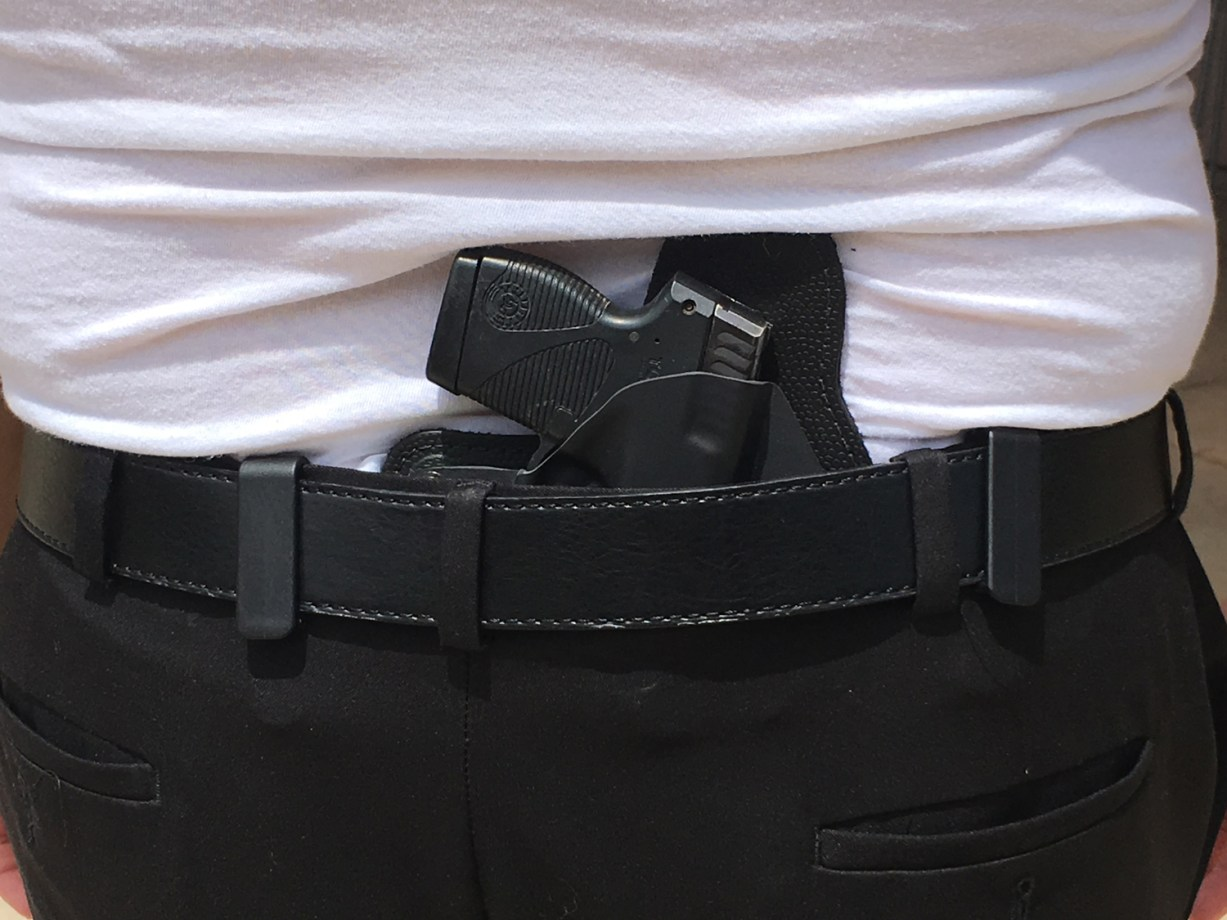 pistol worn in an inside the waistband holster