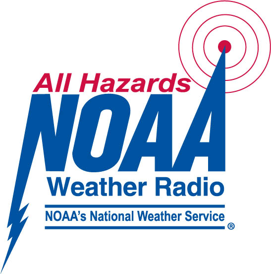 Picture shows the NOAA All Hazards weather radio logo in blue and red.