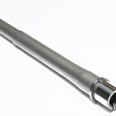 A single stainless steel, match grade barrel on a white background
