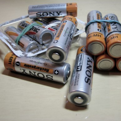 A small pile of AA batteries from Sony