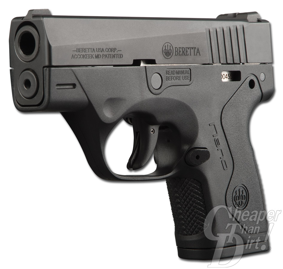 Picture shows the right side of the Beretta Nano pistol.