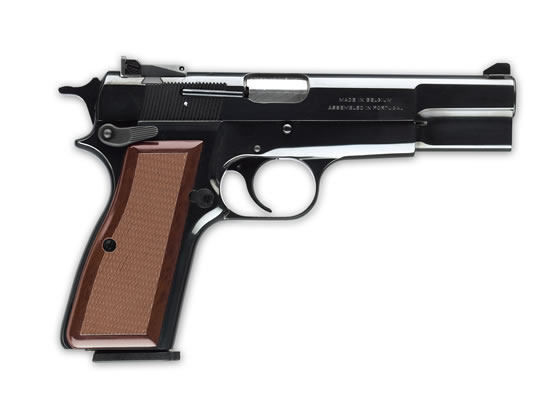 Browning 75th Anniversary Hi Power with brown grip on a white background