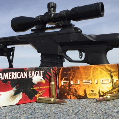 Savage Stealth BA with boxes of American Eagle and Federal Fusion ammunition