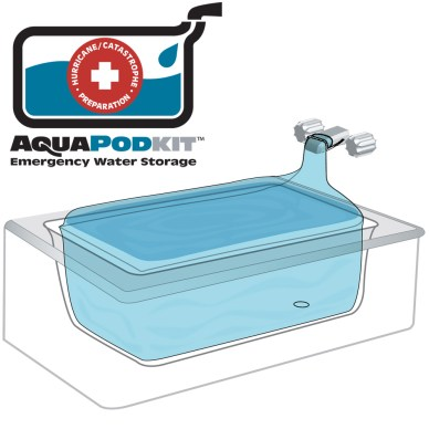 The AquaPodKit assures you will have fresh water for weeks.