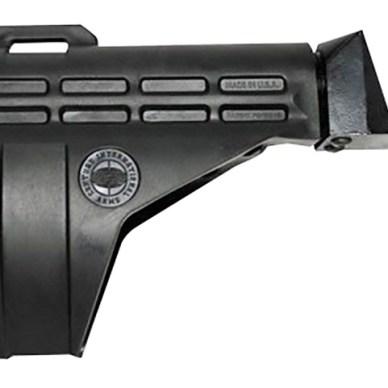Picture shows a black pistol stabilizing brace.
